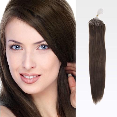 """20"""" Medium Brown(#4) 100S Wavy Micro Loop Remy Human Hair Extensions"""