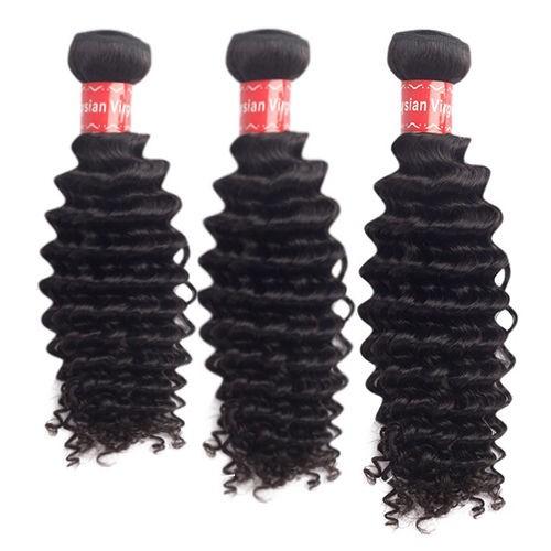 16/18/20 Inches Deep Curly Natural Black Virgin Malaysian Hair